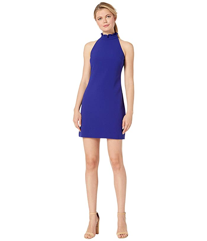Vince Camuto Kors Crepe Shift Dress with High Ruffle Neck (Cobalt) Women