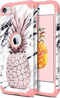 Dailylux iPod Touch 6 Case,iPod Touch 7 Case,iPod Touch 5 Case,2 in 1 Hybrid Slim Fit Hard PC&Soft Rubber Anti-Scratch Protective Case for iPod Touch 5/6/7th Generation,Marble Pineapple Rose Gold