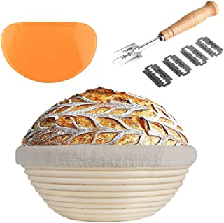 Jillmo 9 inch Banneton Proofing Basket Set Natural Rattan Round Bread Proofing Basket Kit for Rising Sourdough with Bread Lame, Cloth Liner and Dough Scraper for Artisan Bakers and Home Use