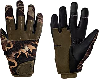 Arctic Buck Hunting Gloves in Real Leather - Best Tactical Shooting Gear to Stay Warm and Dry with Stealth Camo Perfect Feel and Touch Screen Feature - Camo Mask Bundle Available