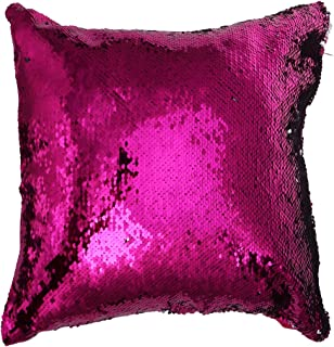 VORCOOL Magia Creativa DIY Glitter Lentejuelas Throw Pillows Cover Textiles para el hogar Funda de cojín Cuadrado Decorativo (Rosy)