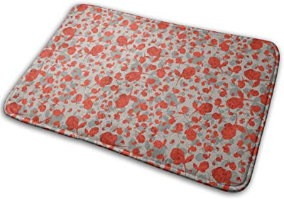 Red-Grey Rose Pattern Carpet Non-Slip Welcome Front Doormat Entryway Carpet Washable Outdoor Indoor Mat Room Rug 15.7 X 23.6 inch