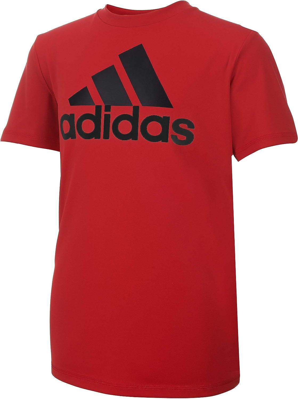 adidas Boys' Big Short Sleeve AEROREADY Performance Logo Tee T-Shirt, Scarlet, Large