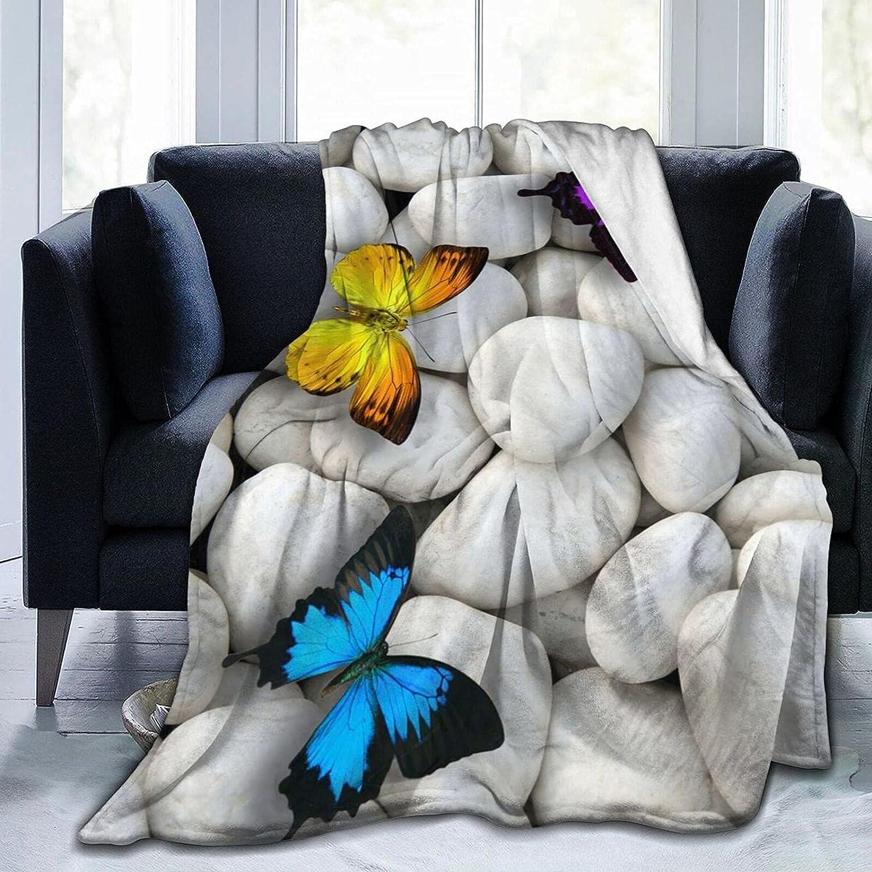Throw Blankets Travel Blanket Butterflies Max 42% OFF specialty shop On Stones White Indoor