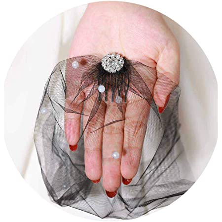 Wedding Bridal Fascinator See Description Vintage Silver Hair Comb has Rhinestone and Pearls with Birdcage Veil
