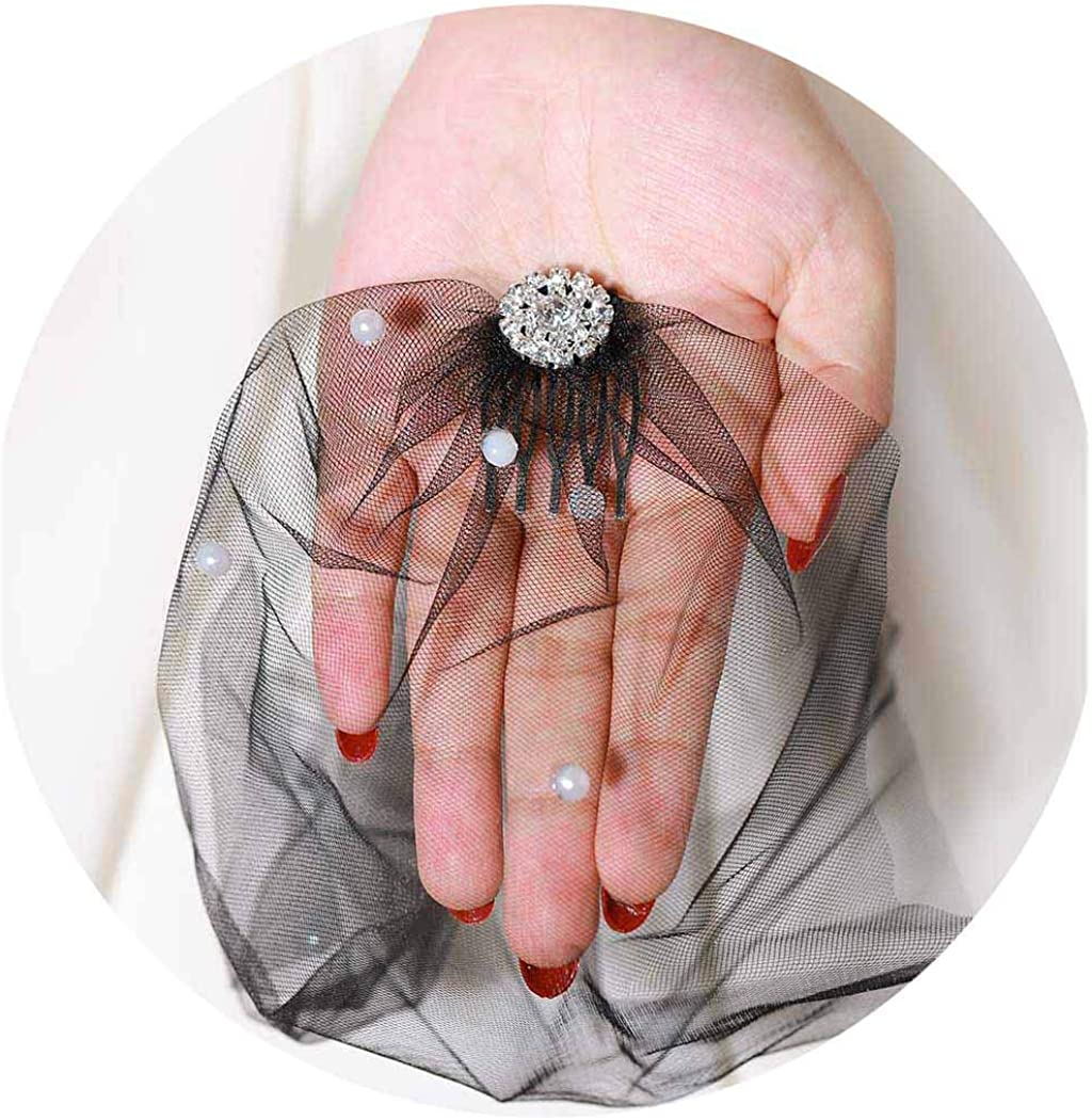 Barode Bride Wedding Veil Rhinestones Natural Pearl Bridal Birdcage Soft Tulle Veil with 2 Comb