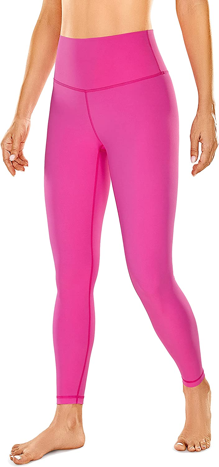 CRZ YOGA Women's Naked Feeling Yoga Pants - 25 Inches Neon Colors Leggings High Waisted Workout Tights Stretchy Fluorescent