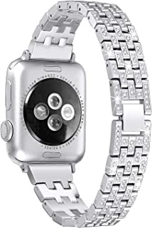 Secbolt Bling Metal Bands Compatible with Apple Watch Band 38mm 40mm iWatch Series 5/4/3/2/1, Dressy Rhinestone Bracelet Wristband Women, Silver