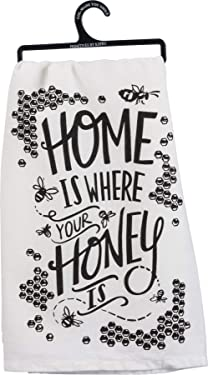 Primitives by Kathy 35506 LOL Made You Smile Dish Towel, 28 x 28-Inches, Honey is Where Your Honey is