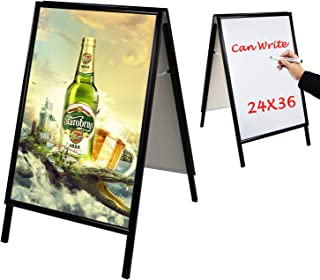 T-SIGN Snap Open Aluminum A-Frame Sidewalk Sign, 24 x 36 Inch Poster, White Dry Erase Surface, Black Double Sided Sandwich Boards, Indoor and Outdoor