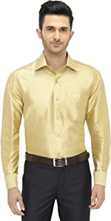 Khoday Williams Mens Full Sleeve Shirt - 100% Silk Dupion Material - Shirt Collar - Golden Colour - Mens Full Sleeve Shirt - 100% Silk Dupion Material