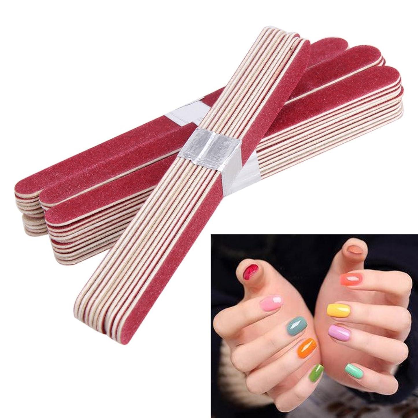 防水トランスペアレント農場Kingsie ネイルファイル 40本セット 赤 ウッド エメリーボード 爪やすり 爪磨き ネイルケアセット