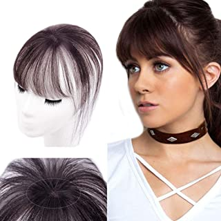 Bangs Hair Clip Human Hair Extensions Invisible Seamless Fringe Hair 3D Hair Toppers for Women Dark Brown