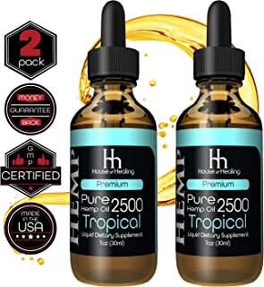 House of Healing Hemp Oil for Pain & Anxiety Relief - (2 Pack) 2500mg - 5000mg Total - Hemp Oil Drops - May Help with Pain, Sleep, Mood, Stress + More! - Hemp Extract - Rich in Omega 3,6,9