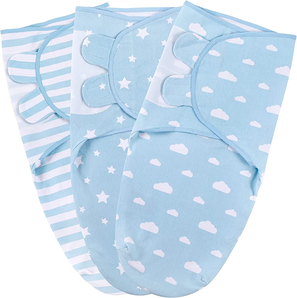 Baby Swaddle Wrap for Infant (0-3 Month), Adjustable Newborn Swaddle Set for Baby Girls and Boys, 3-Pack Soft Organic Cotton, Organic Cotton Swaddle Blanket, Blue