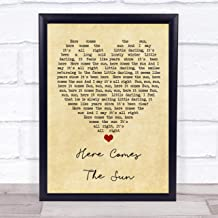 Here Comes The Sun Vintage Heart Quote Song Lyric Print