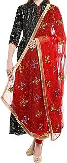 FEMEZONE Women's Phulkari Embroidered Handwork Dupatta (Red, Free Size)