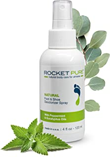 Natural Mint Shoe Deodorizer, Foot Deodorant Spray. Fights Odor, Stink Caused by Bacteria. Spray Freshens Better Than Mess...
