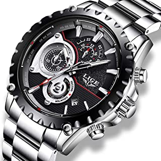 Mens Watches, LIGE Watches for Men Waterproof Fashion Business Casual Sport Stainless Steel Chronograph Quartz Watch Wristwatch for Men Day Date, Black