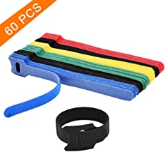 Hmrope 60PCS Reusable Fastening Cable Ties, 6-Inch Adjustable Cord Ties, Microfiber Hook Loop Cords Management Wire Organizer Wraps (Assorted Colors)