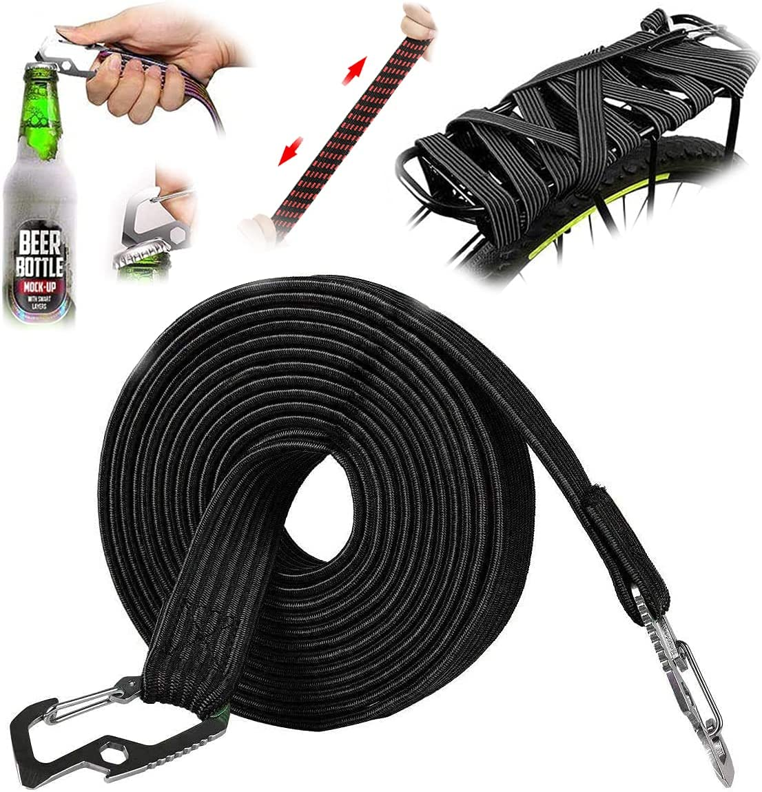 Grneric Long Bungee Cords Ranking TOP19 with Color Set Max 76% OFF Hooks Flat Cord
