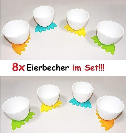Preisvergleich für 8X lustige Eierbecher mit Füßen Ei Kunststoff Frühstücksei Chicken Egg Cups