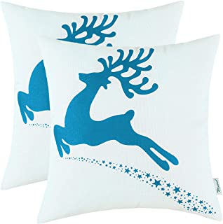 CaliTime Pack of 2 Soft Canvas Throw Pillow Covers Cases for Couch Sofa Home Decoration Christmas Holiday Reindeer with Stars Print 20 X 20 Inches Sea Blue