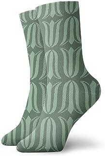 ヒマワリのブロックプリント花チューリップ_7072 絵画アートプリント面白いノベルティ動物カジュアルコットンクルーソックス11.8インチ