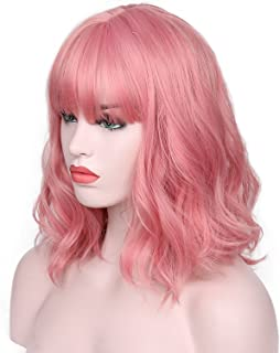 AISI HAIR Short Pink Wavy Bob Wig for Women With Air Bangs Synthetic Hair Wigs Pink Curly Cosplay Wig Shoulder Length Heat Resisitant Fiber 14 Inches 180 Grams