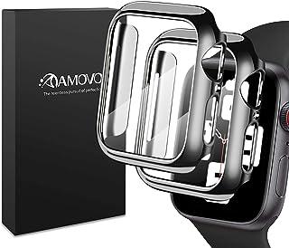 【光沢の2020改良モデル】AMOVO Apple Watch Series4/Series5/Series6/SeriesSE 40mm ケース 液晶全面保護カバー Apple Watch フィルム日本旭硝子材 PCフレーム 傷防止 Appl...