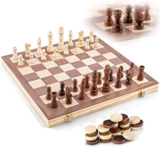 Wooden Chess Set - Handcrafted Chess Pieces - 15 Inch Chess Board - Foldable - Interior Storage Space - Travel Friendly - Felt Bottom - 3 Inch King - Bonus Wooden Checkers Pieces