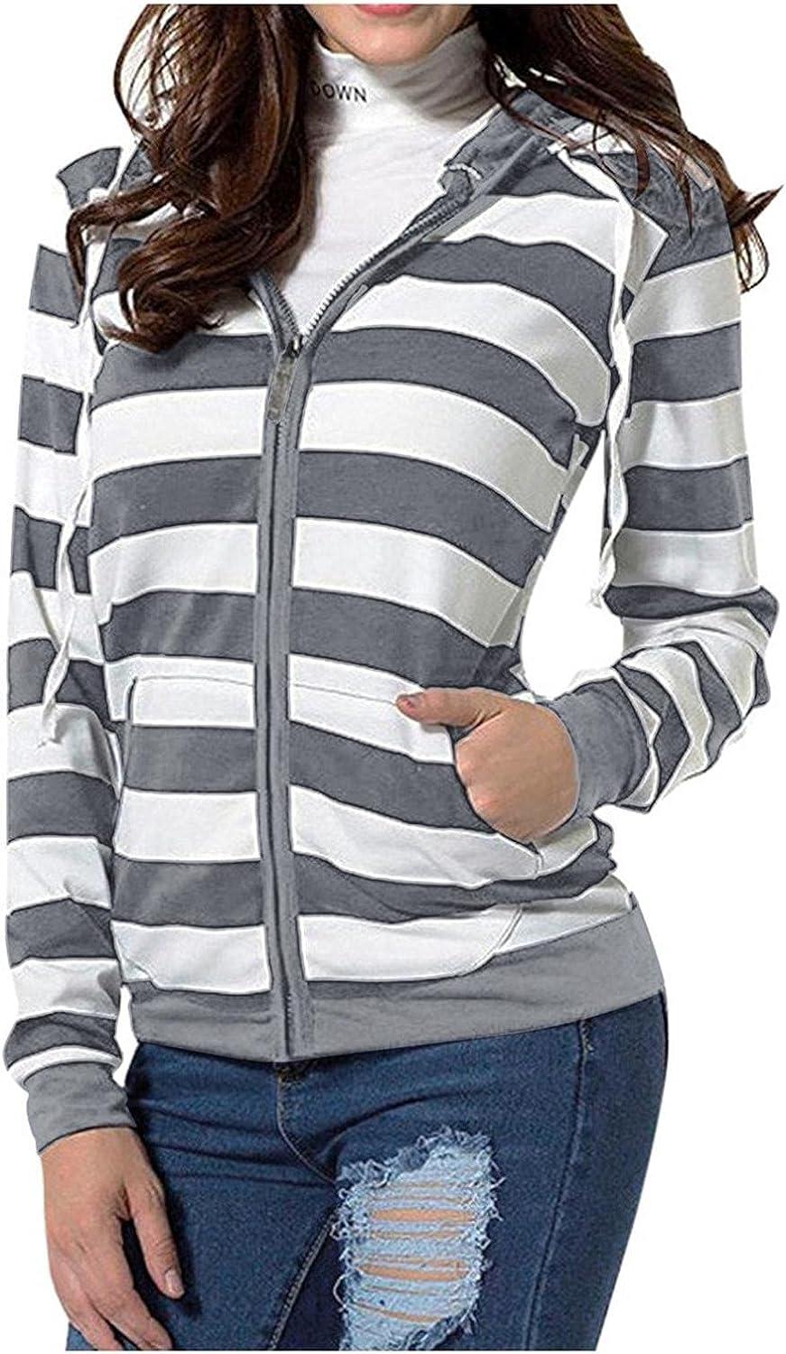felwors Womens Hoodies, Womens Casual Pullover Sweatshirts Zip Up Striped Hoodie Color Block Print Long Sleeve Jacket