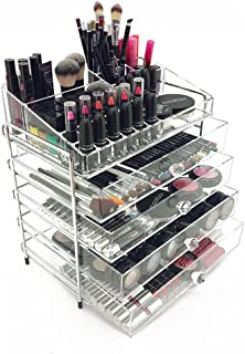 OnDisplay 5 Tier Chromed Steel Frame Acrylic Cosmetic/Makeup Organizer, Clear