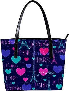 """LORVIES - Borsa a tracolla da donna in pelle sintetica con motivo """"Parigi Love Tour Eiffel"""""""