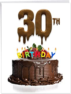 Big Day 30 - Milestone 30th Birthday Card with Envelope (Big 8.5 x 11 Inch) - Chocolate Frosted Cake with Strawberries, Happy Bday Greeting Card for Men, Women Birthdays - Congrats Gift J7060DMBG