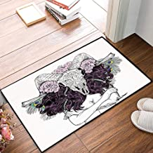 Non-Slip Mat Microfiber Bathroom Rug Shower Mat, Skull Decorations,Tribal Lady with Horned Goat Head and Peacoc, Ultra Soft and Water Absorbent Bath Rug,Machine Wash/Dry 24x 39 inches