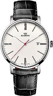 スイス製 Marvin Origin シリーズ 石英ムーブメント ステンレスケース ホワイト文字盤 黒色ワニ紋革の時計バンド メンズ腕時計
