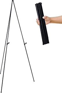 "US Art Supply""Easy-Folding Easel"" Black Steel 63"" Tall Display Easel"