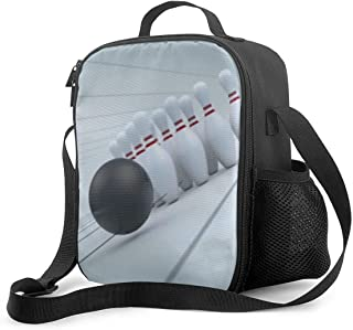 ZHENHUN Reusable Insulated Lunch Bag, Bowling Ball Lunch Tote Thermal Lunch Box with Pocket Tote Bag for School Work Outdoor Travel