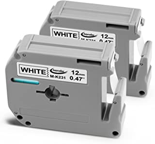 Anycolor Replacement for Brother P-Touch M Series Tape M231 Work with P Touch Label Maker PT-90 PT-M95 PT-70BM PT-70 PT-65 PT-85 PT-45, Black on White, 0.47 Inch (12mm) x 26.2 Feet (8m), 2-Pack