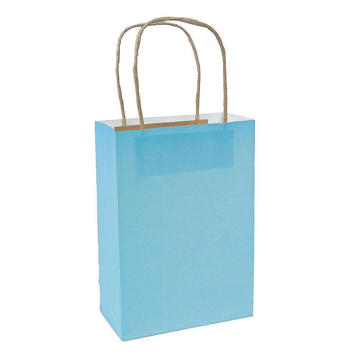 Light Blue Medium Craft Paper Bags (12 Pack)