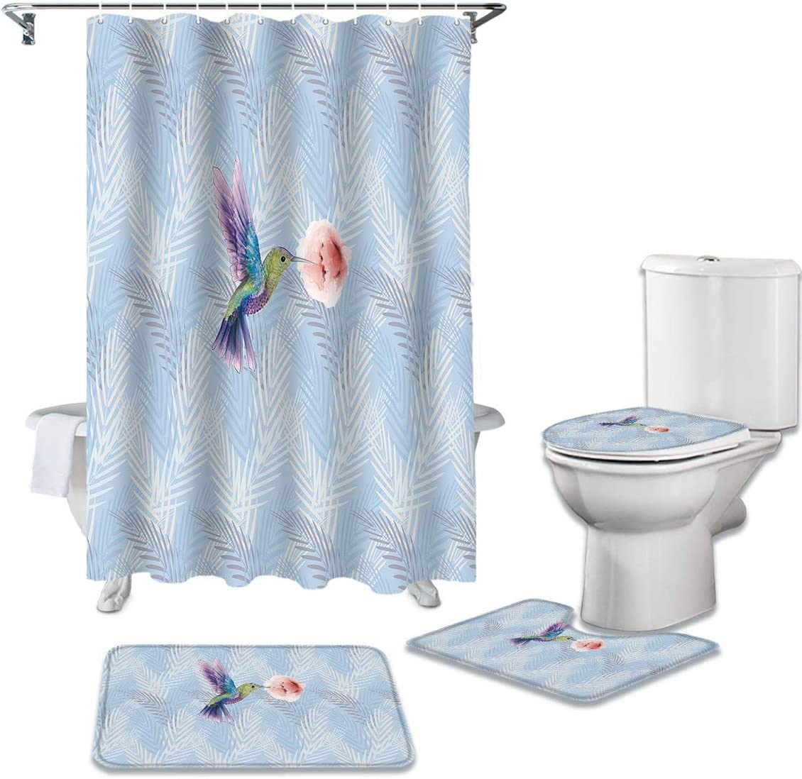 4 Piece shop Bathroom Gifts Set Cute Woodpecker Curtain Shower Colorful