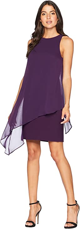 Chiffon Overlay Sheath Dress