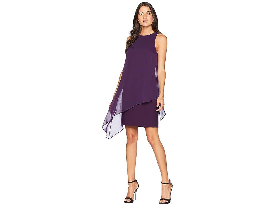 Tahari by ASL Chiffon Overlay Sheath Dress (Plum) Women