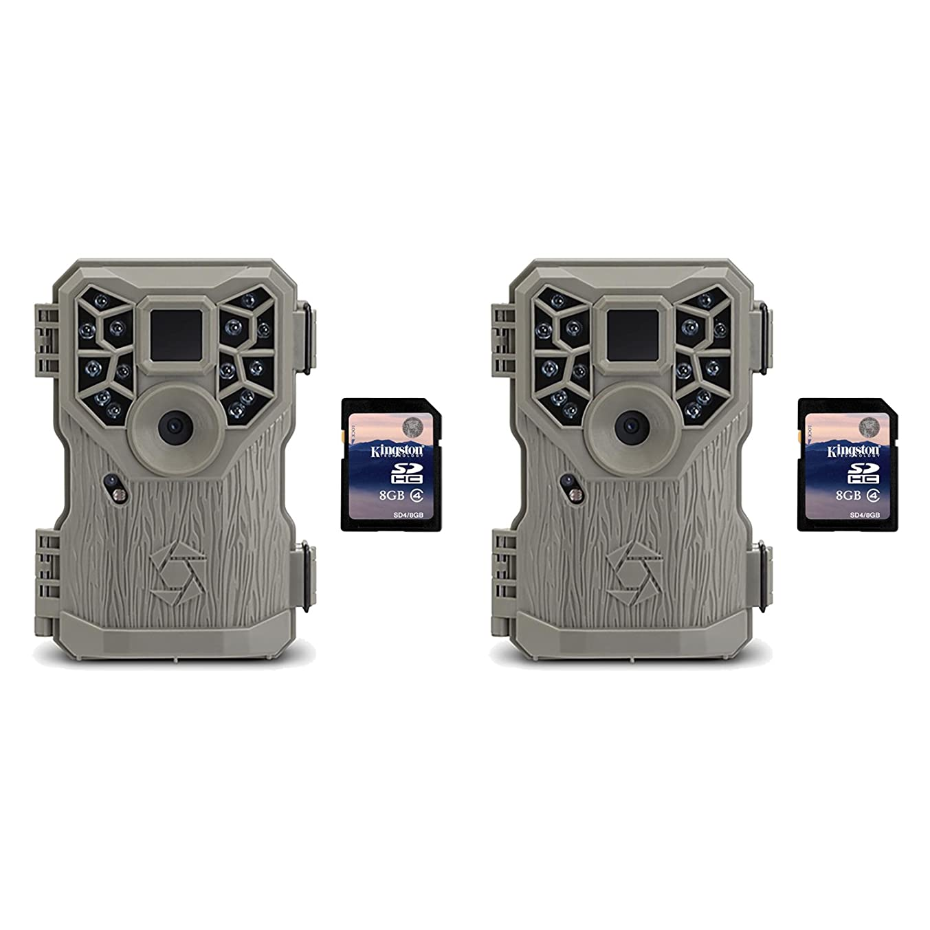 Stealth Cam 8MP 14 IR Emitter Hunting Game Camera, 2 Pack + 8GB SD Card, 2 Pack