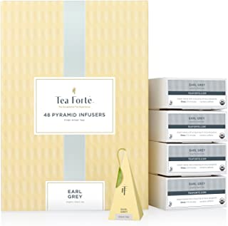 Tea Forte Earl Grey Event Box Bulk Pack, 48 Handcrafted Black Tea Pyramid Infuser Bags