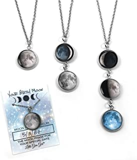 Stainless Steel Custom Birth Moon Necklace with 1, 2, 3 or 4 Personalized Moon Phase Charms