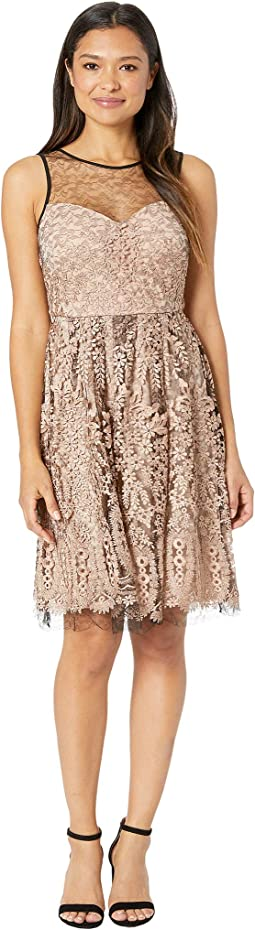 Embroidred Mesh Sleeveless Cocktail Dress