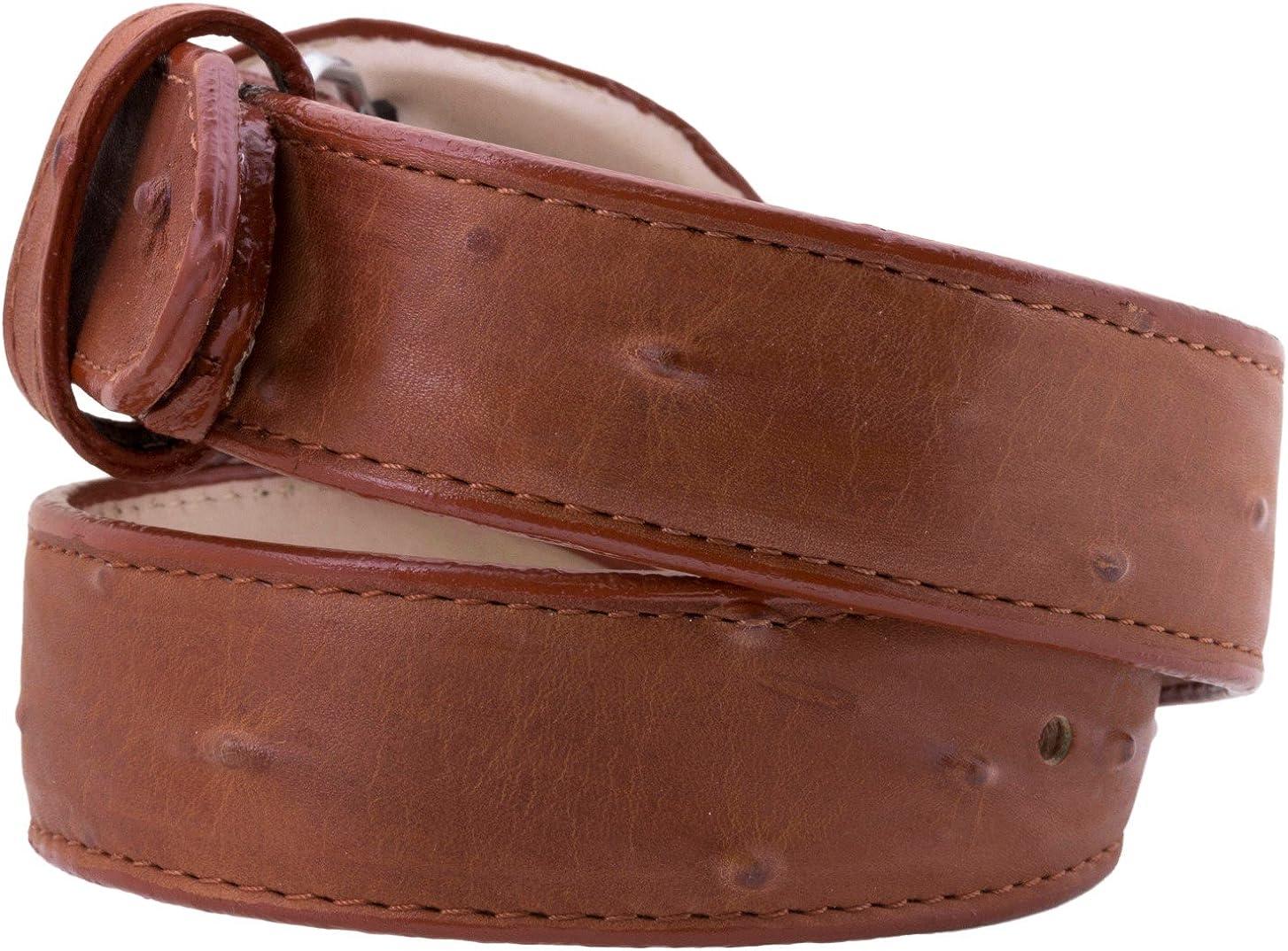 Kids Cowboy Western Belt Cognac Ostrich Pattern Leather Round Buckle 28