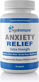 Anxiety Relief Supplement Complex with L-Theanine, 5-HTP, Vitamins B6, B12 and Magnesium. Quality Sleep Support and Mood B...